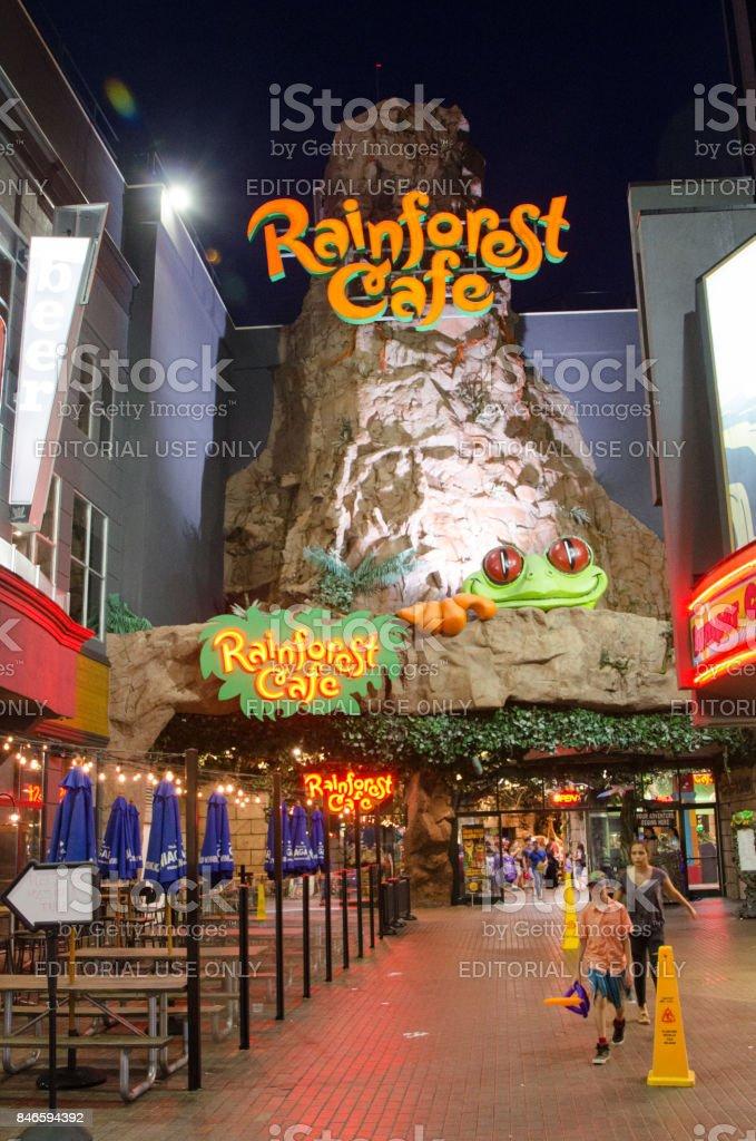 Facade Of Rainsforest Cafe During Summer Night In Niagara