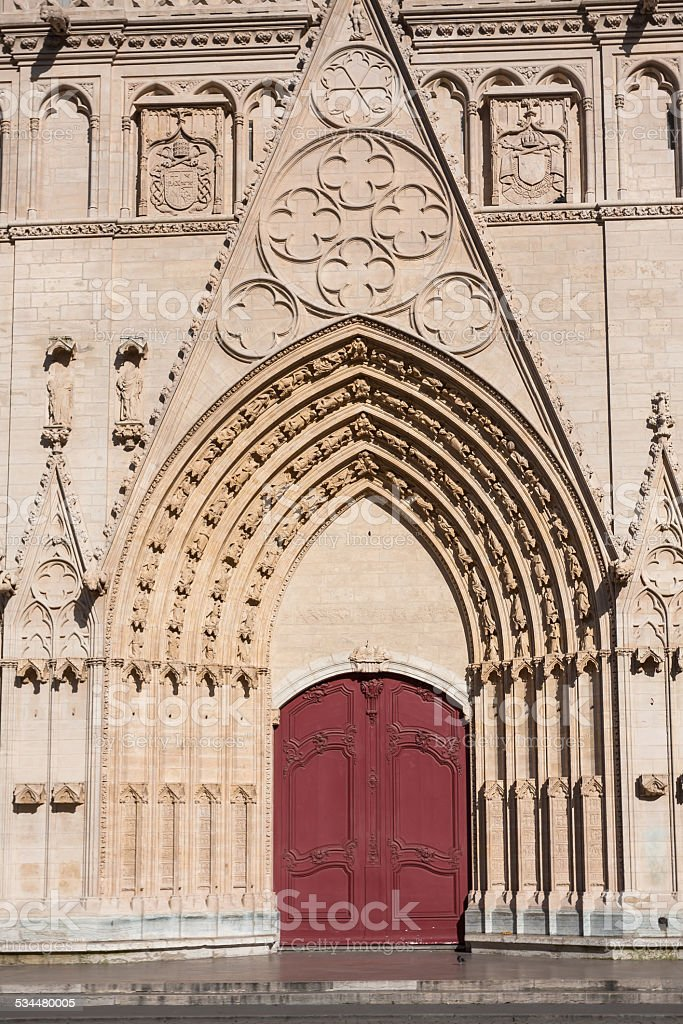Facade of Saint Jean cathedral in Lyon, France stock photo