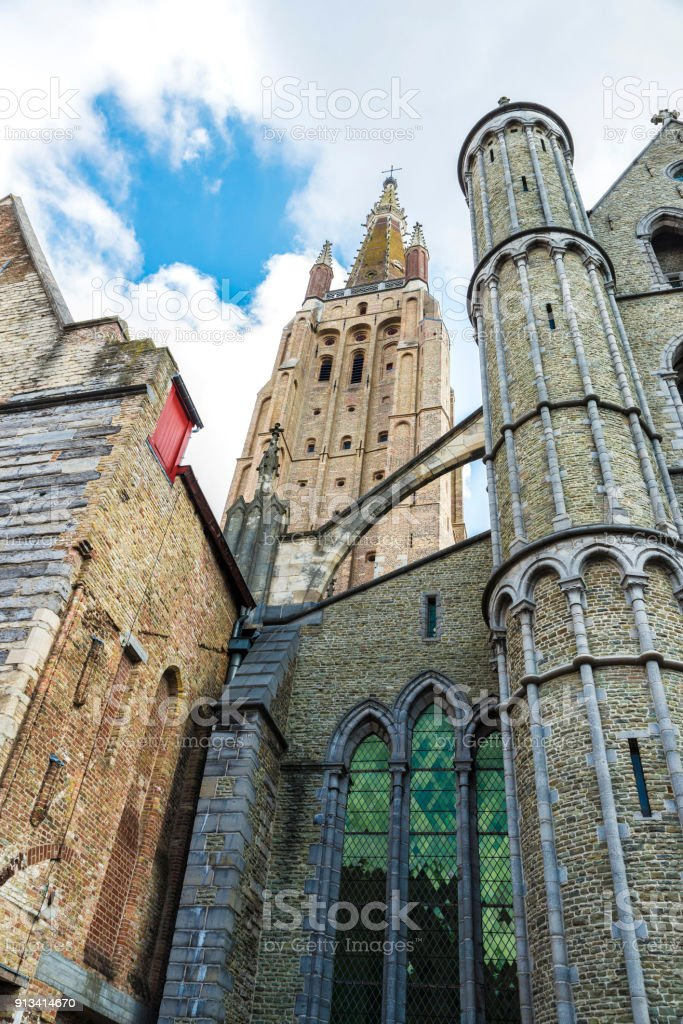 Facade of Saint-Salvator Cathedral in Bruges, Belgium stock photo
