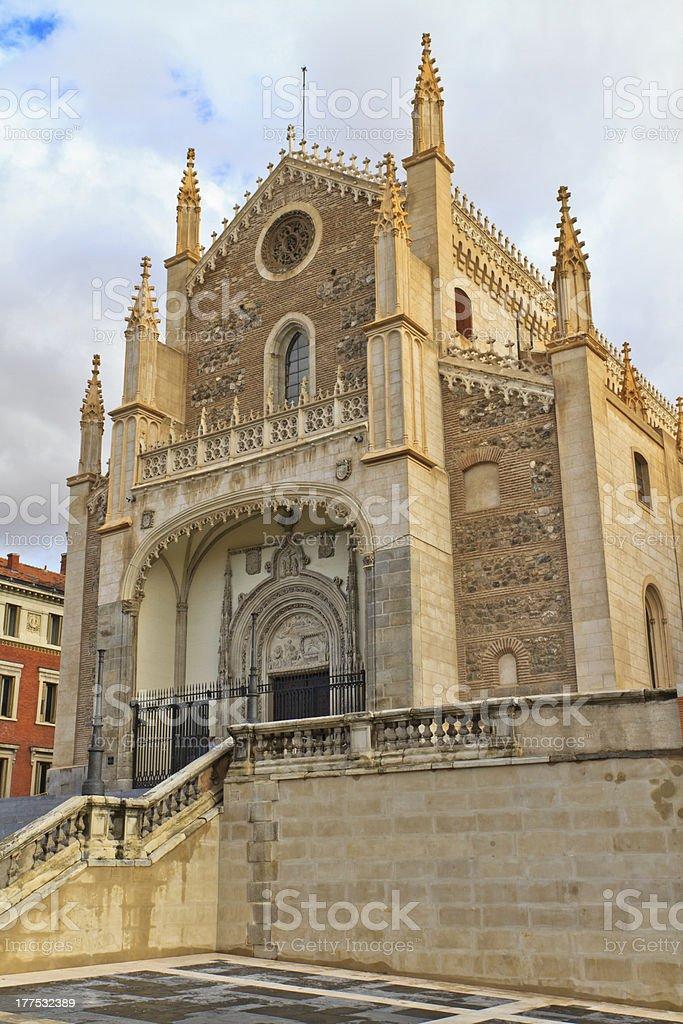 Facade of San Jeronimo el Real Church, Madrid, Spain stock photo