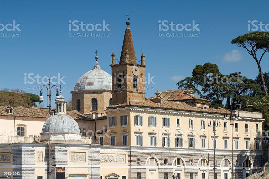 Facade of Santa Maria del Popolo royalty-free stock photo