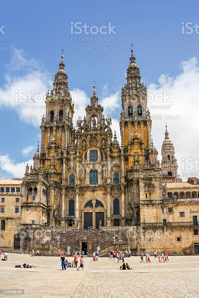 Facade of Santiago cathedral stock photo