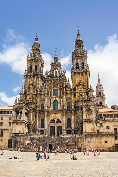 Facade of Santiago cathedral stock photo
