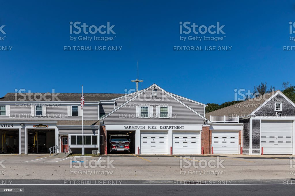 facade of shops at the Main street in Yarmouth stock photo
