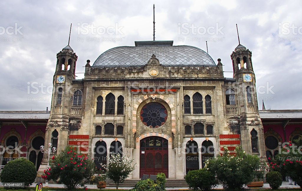 Facade of Sirkeci railway station stock photo