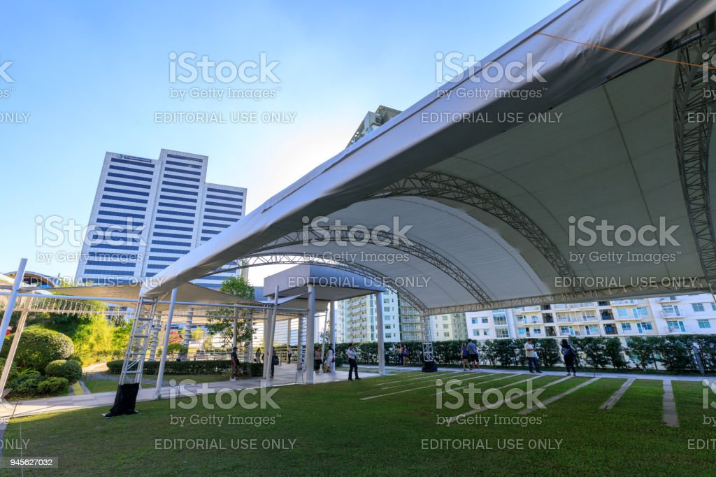 Facade of SM Aura Premier, Shopping mall in Taguig, Philippines stock photo