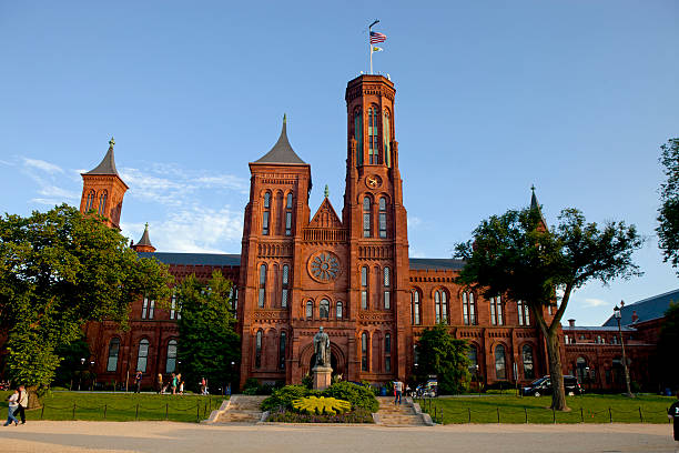 Facade of Smithsonian Castle in Washington, D.C stock photo
