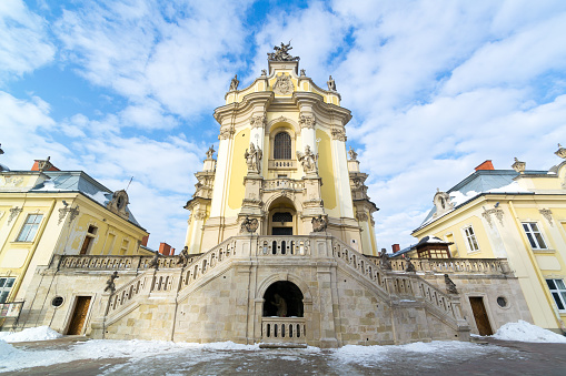 Facade of St. George's Cathedral in Lviv, Ukraine.