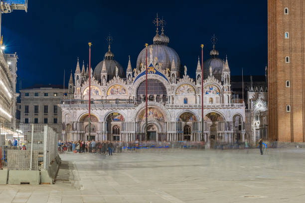 Facade of St Mark's Basilica, cathedral church of Venice, Italy - foto stock