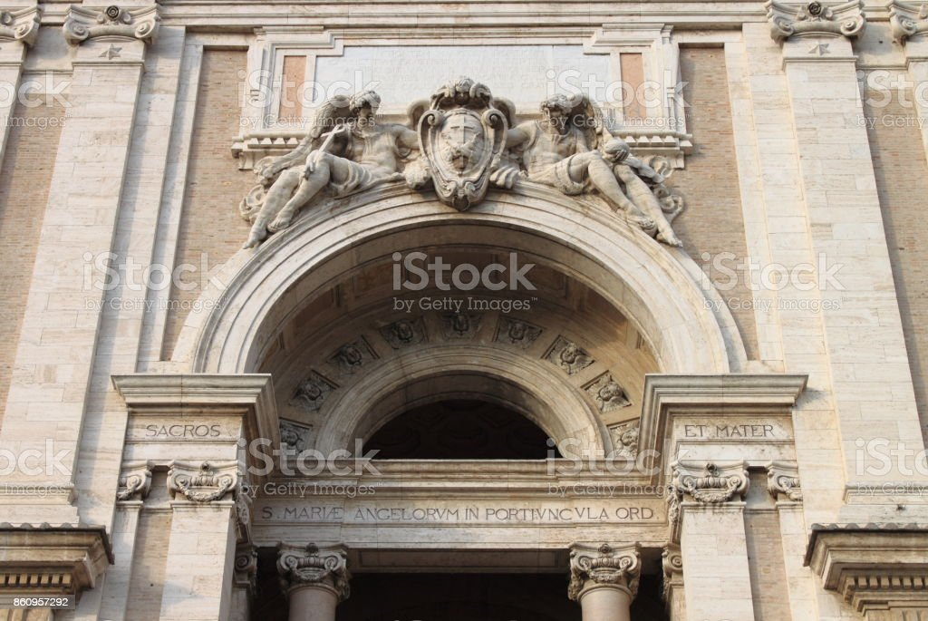 Facade of St. Mary of Angels Basilica in Assisi stock photo