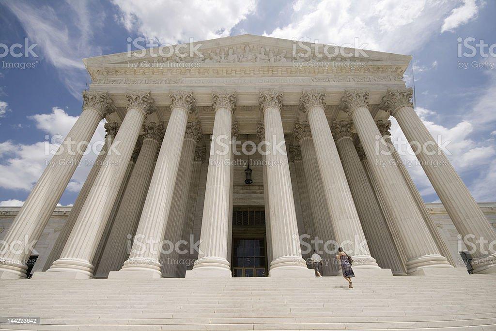 Facade of Supreme Court Building Washington DC Blue Sky stock photo