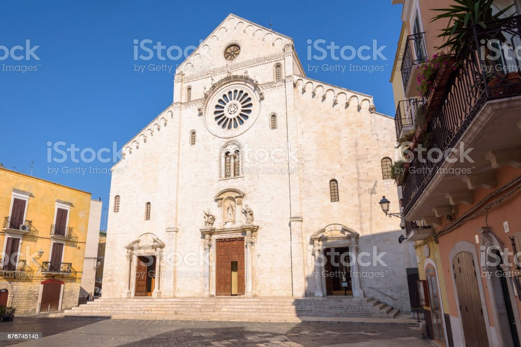 Facade of the Bari Cathedral stock photo
