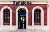 Badalona, Spain - August 13, 2020. Facade of the building of the Badalona railway station, near Barcelona.