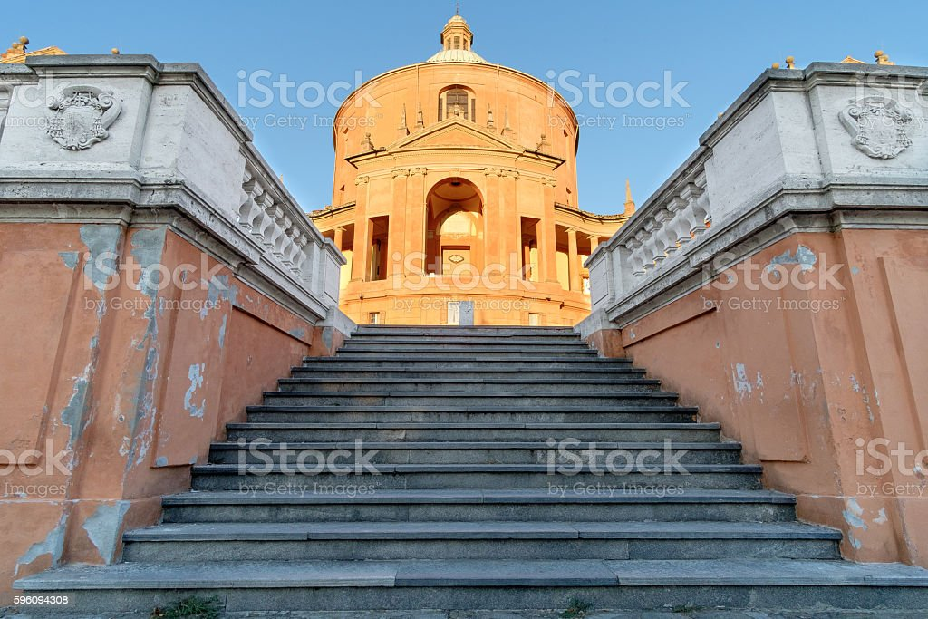 Facade of the Catholic Cathedral of St. Luke, Bologna royalty-free stock photo