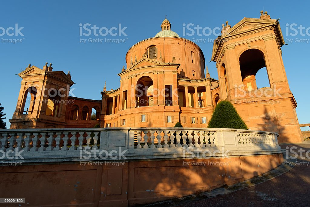 Facade of the Catholic Cathedral of St. Luke , Bologna royalty-free stock photo