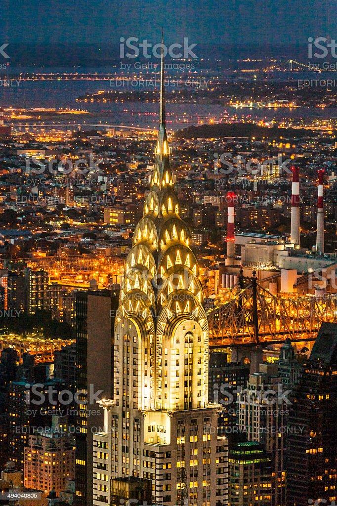 Facade of the Chrysler Building in the nigh stock photo