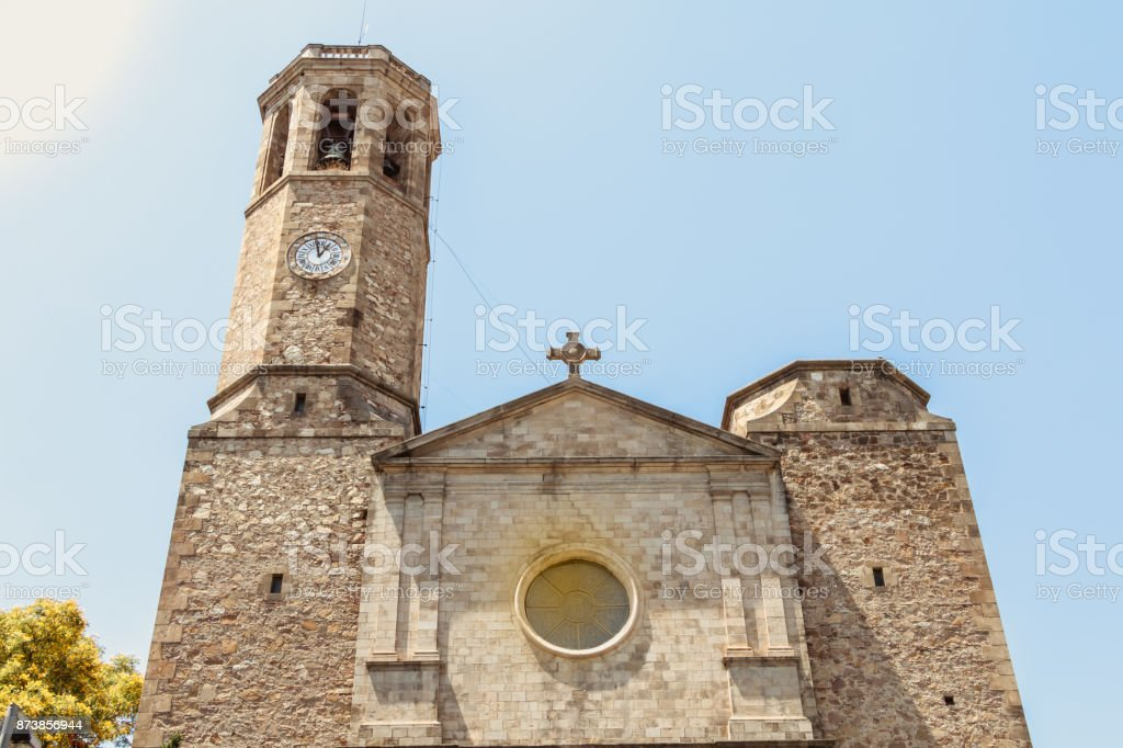 facade of the church of Saint Vincent de Sarria in Barcelona stock photo