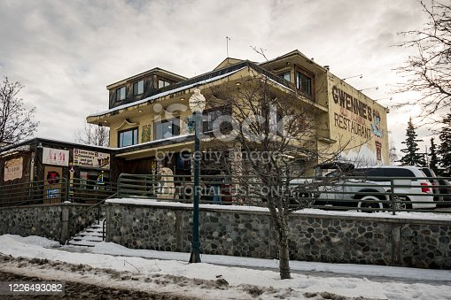Anchorage, Alaska / United States - February 9 2020: Famous Alaskan restaurant surrounded with snow in the winter.