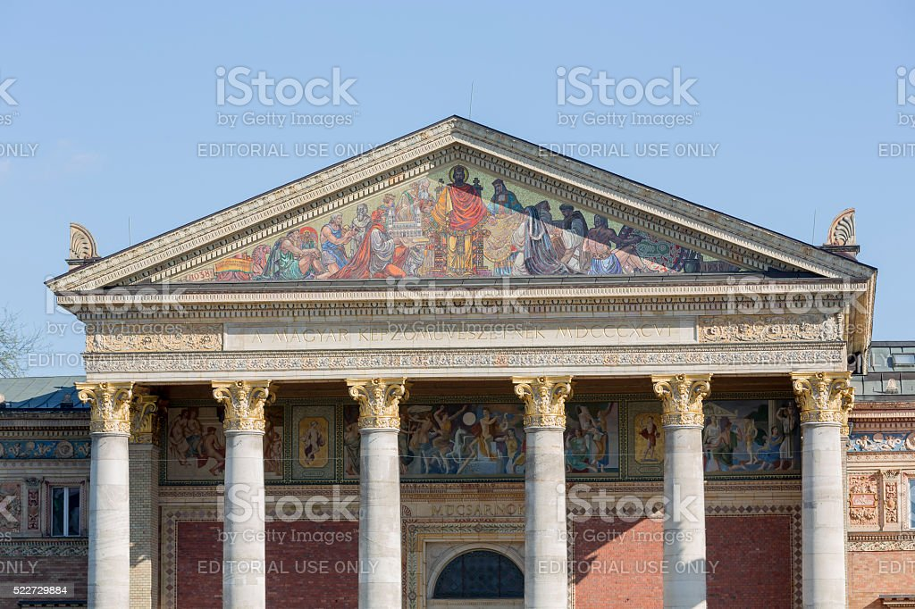Facade of the Hall of Art (Mucsarnok) in Budapest stock photo