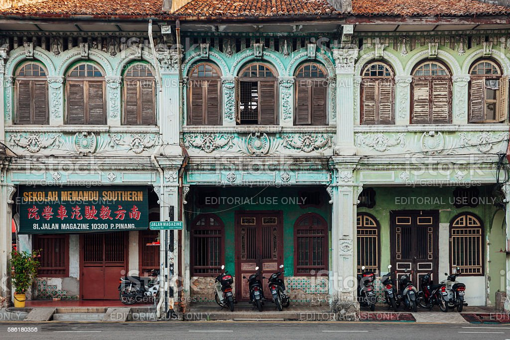Facade of the heritage building, Penang, Malaysia royalty-free stock photo