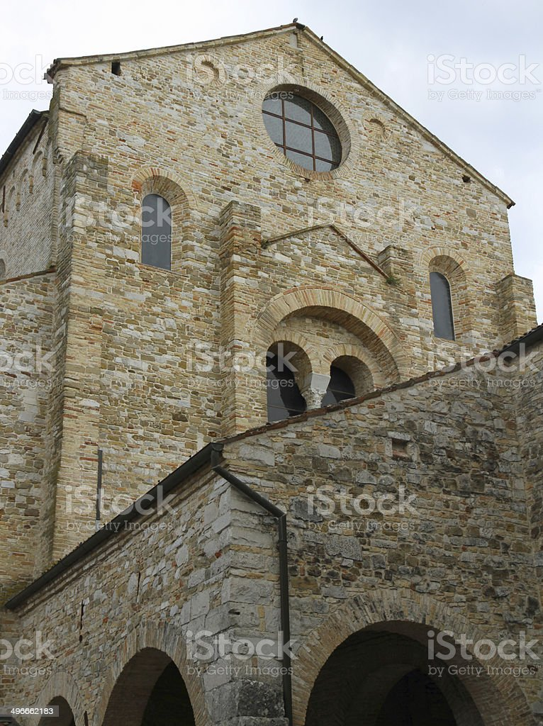 facade of the historic stone church of AQUILEIA stock photo