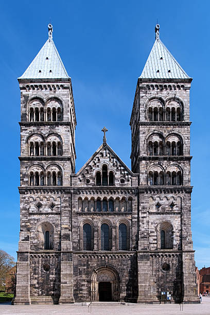 facade of the lund cathedral, sweden - lund stock photos and pictures