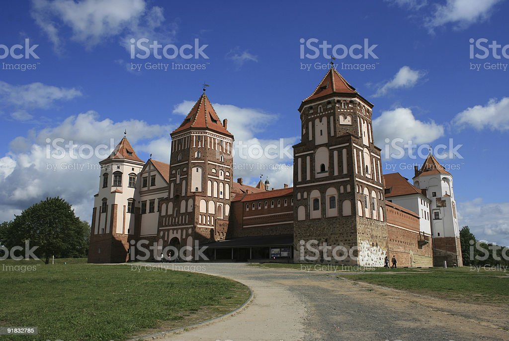 Facade of the Mir Castle, Belarus royalty-free stock photo