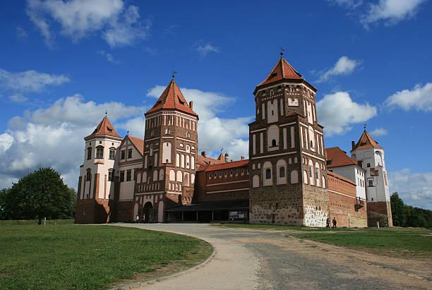 Facade of the Mir Castle, Belarus stock photo