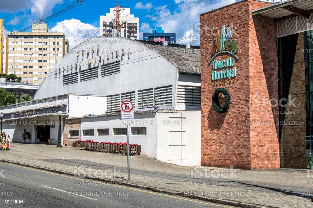 Facade of the Municipal Market of Curitiba stock photo