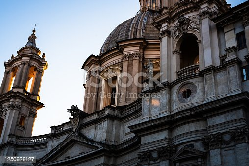 Facade of the Piazza Navona building at sunset in Rome, Italy