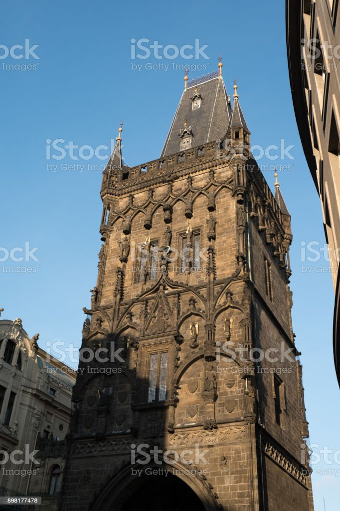 Facade of the Powder Tower (Prasna brana), medieval gate from the 15th Century in Prague, separating Old Town from New Town, Prague Czech Republic. stock photo