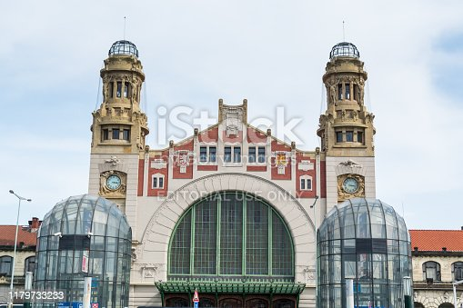 Facade of the Prague main railway station, Czech Republic,  Prague main railway station, abbreviated Praha hl. n., is the largest and most important railway station in Prague in the Czech Republic