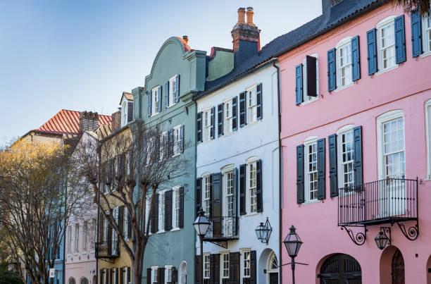 Facade of the Rainbow Row Charleston South Carolina stock photo