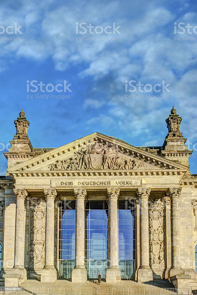 Facade of the Reichstag (German Parliament) in Berlin, Germany royalty-free stock photo