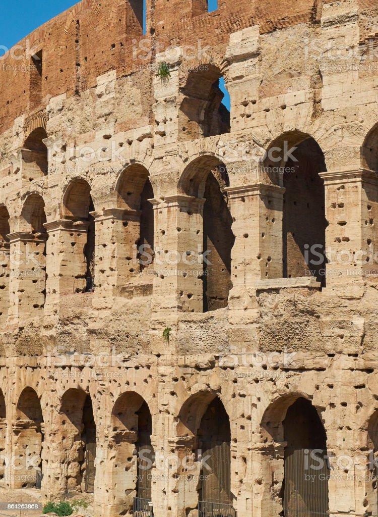 Facade of the roman Colosseum. Rome, Lazio, Italy. royalty-free stock photo