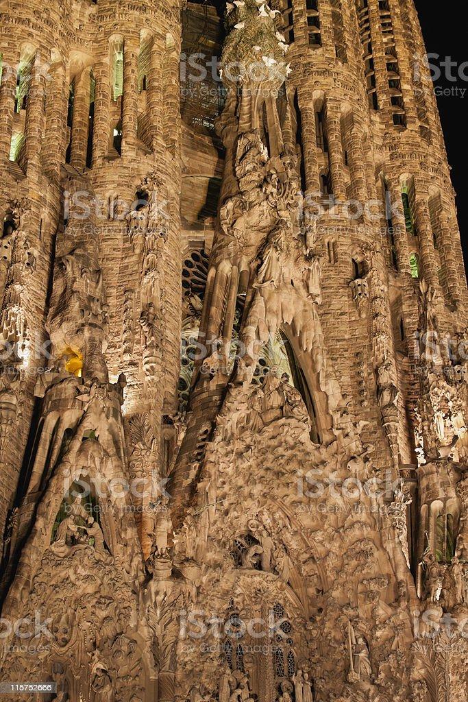 Facade of the Sagrada Familia in Barcelona at night royalty-free stock photo