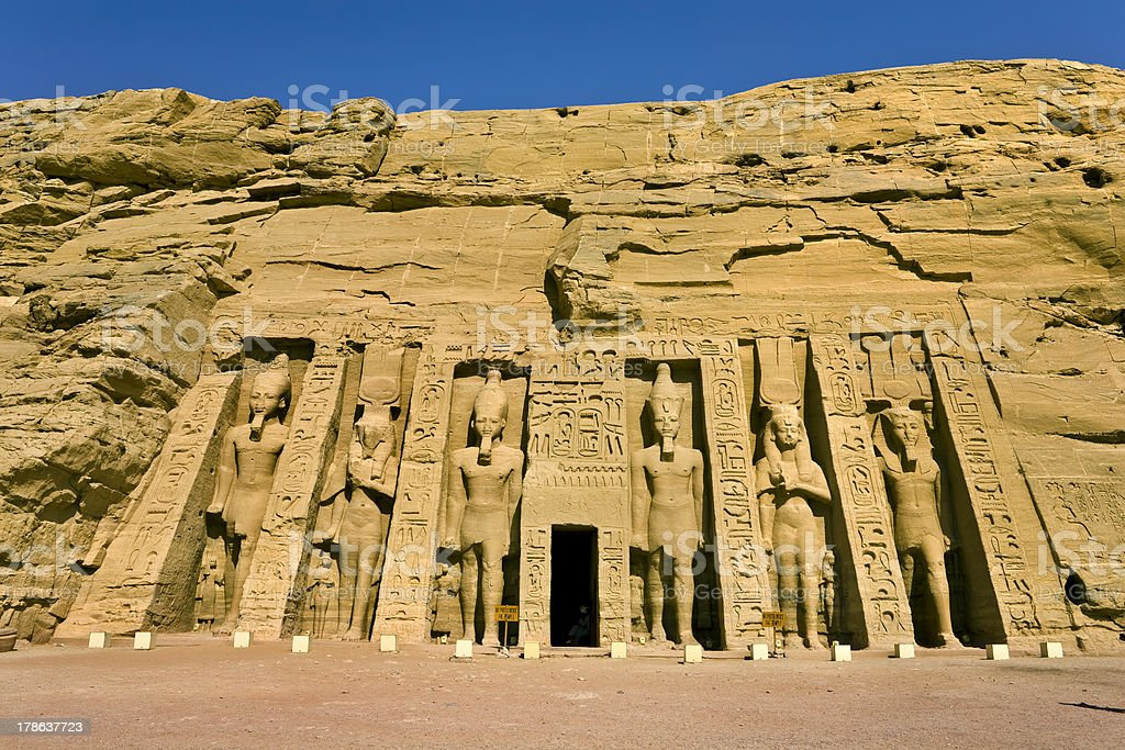 Facade of the Small Temple at Abu Simbel stock photo