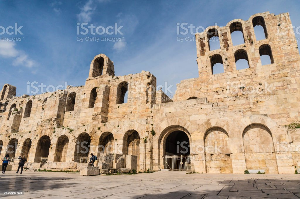 Facade of the theater of Herodes in Athens Greece stock photo