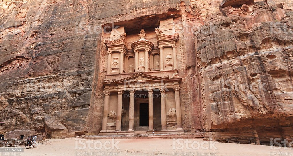 Facade of the Treasury in Petra, Jordan stock photo