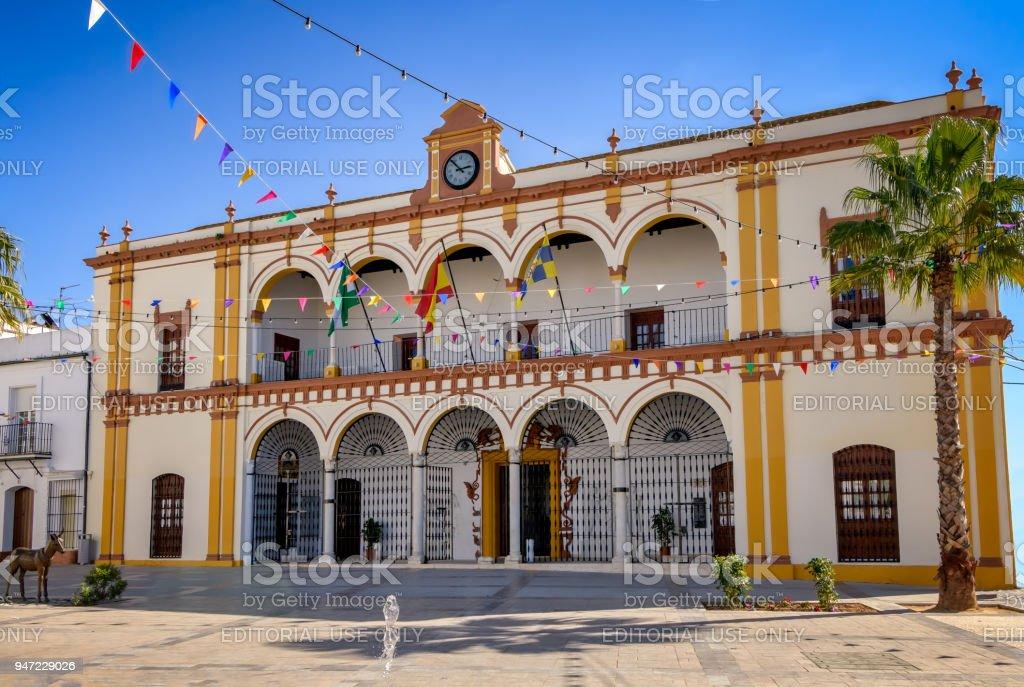 Facade of town hall building in Moguer, Huelva, Spain. stock photo