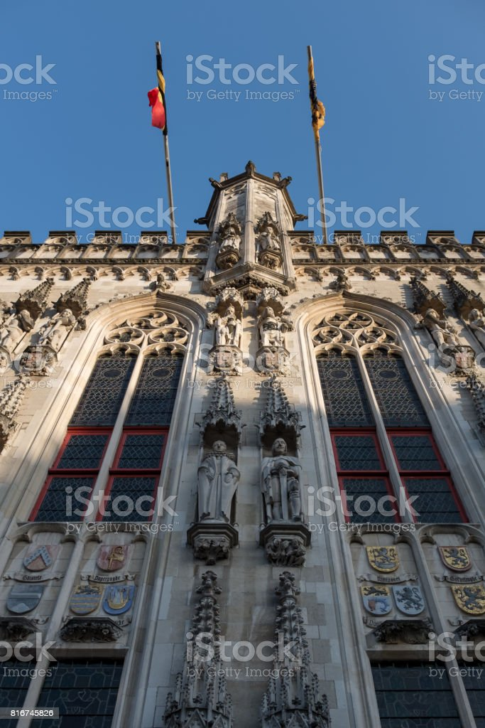 Facade of town hall on so-called 'Burg' square in Bruges, Belgium stock photo