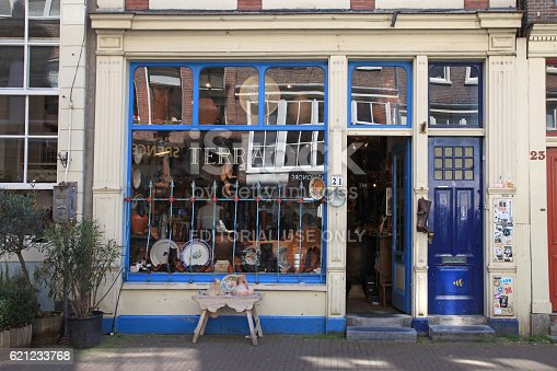 Amsterdam, Netherlands - May 8, 2016: Facade of vintage shop in Amsterdam, Netherlands. The Nine Streets - special neighborhood is full with vintage and designer shopping, speciality stores and cozy cafes