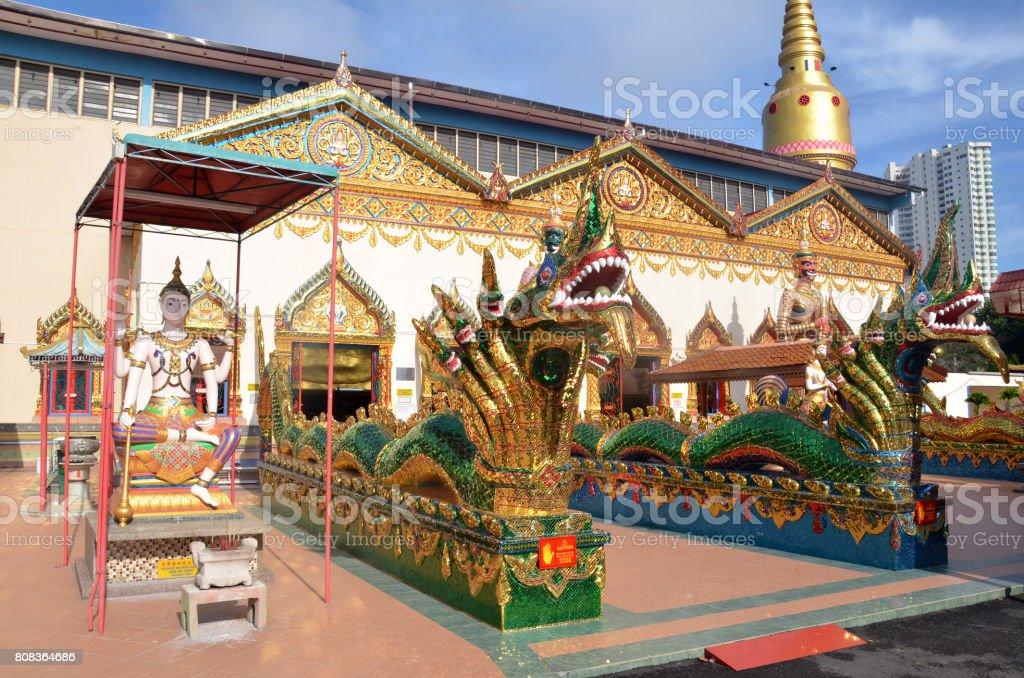 Facade of wat Chaiya Mangalaram stock photo