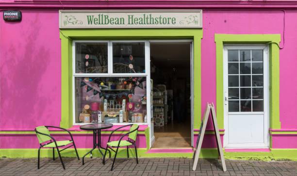 Facade of Wellbean Healthstore in Clifden, Ireland. stock photo