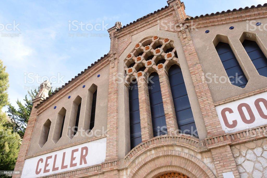 facade of wine cellar in Cornudella de Montsant, El Priorat, Tarragona province, Spain stock photo