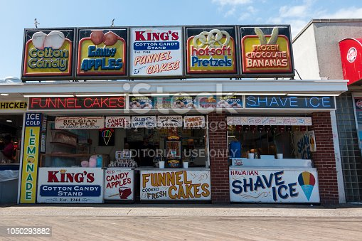Ocean City, USA - September 3, 2018. Food storefronts on boardwalk at Ocean City, Maryland, USA.