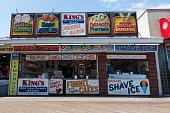 Ocean City, USA - September 3, 2018. Food storefronts on boardwalk at Ocean City, Maryland, USA.
