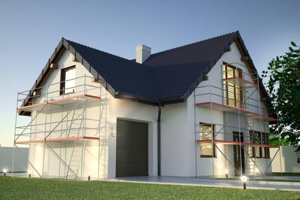 renovação de fachada, ilustração 3d - fachada - fotografias e filmes do acervo