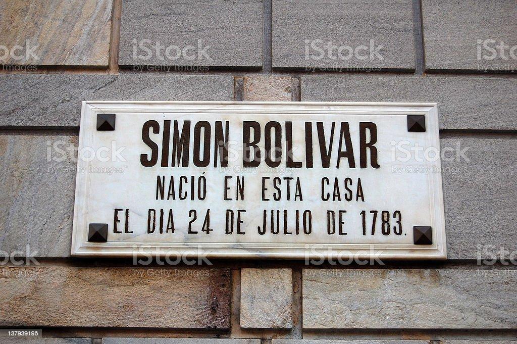 Facade Simon Bolivar birthplace stock photo