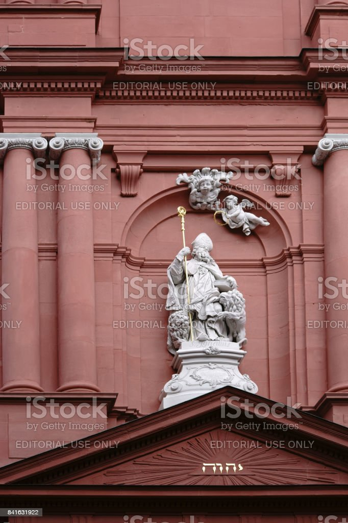 Facade St. Ignatius Church Mainz stock photo